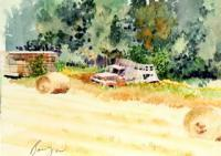 Abandoned Truck - Aiken Minnesota - Watercolor Paintings - By Dave Barazsu, Realisic Painting Artist
