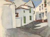 House On Street - Ronda Spain - Watercolor Paintings - By Dave Barazsu, Realisic Painting Artist