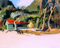 Landscape - Beach Hut - Moorea French Polynesia - Oil Painting