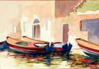 Landscape - Three Boats On Canal Venice Italy - Watercolor