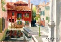 Landscape - Red House Venice Italy - Watercolor