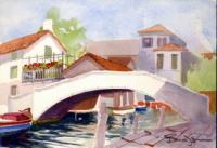White Bridge Venice Italy - Watercolor Paintings - By Dave Barazsu, Impressionism Painting Artist