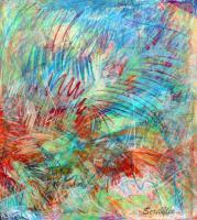 Abstract - Scribbles - Acrylic And Pastels On Canvas