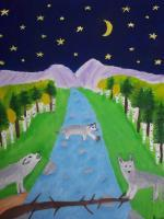 Paintings - Wolves At Night - Oil