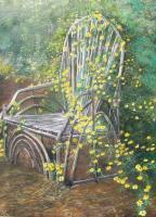 Rustic Landscapes - Bentwood Chair In Wildflowers - Acrylic On Canvas