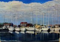 Landscapes  Seascapes - Boats In The Harbor - Acrylic On Canvas