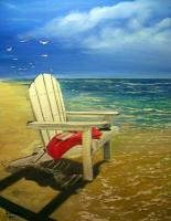 Chair In The Surf - Acrylic On Canvas Paintings - By Deborah Boak, Realism Painting Artist
