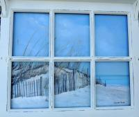 Landscapes  Seascapes - Beach Cottage View - Acrylic On Board