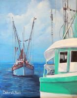 Landscapes  Seascapes - Gulf Shrimpers - Acrylic On Canvas