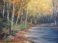 Rustic Landscapes - Fall Road - Acrylic On Canvas