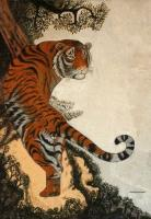 Tiger On Hill - Sand Other - By Murukan Kasturba, Pure Sand Work On New Wood Other Artist