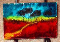Red Grass - Acrylic Paintings - By Nola Tresslar, Landscape Painting Artist