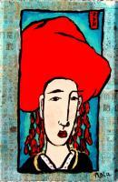 Man In Red Hat II - Zen Art Mixed Media - By Nola Tresslar, Asian Mixed Media Artist