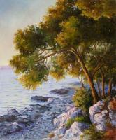 Landscape - Pines Above The Sea - Oil On Canvas