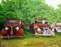 Medina Truck Stop - Oil On Canvas Paintings - By Karin Sutherland, Realism In Oil Paintings Painting Artist