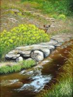 Landscapes - Beside A Mountain Stream - Oil On Canvas