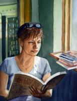 In The Book Store - Watercolor Paintings - By Artist Irina Sztukowski, Realism Painting Artist