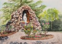 Saint Rose Of Lima Church Grotto -120 Dollars - Watercolor Paintings - By Artist Irina Sztukowski, Realism Painting Artist