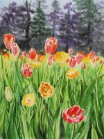 Flowers - Landscape With Tulip Garden - Watercolor