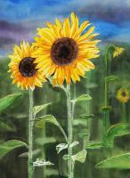 Landscape With Sunflowers - Watercolor Paintings - By Artist Irina Sztukowski, Realism Painting Artist