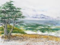 Available_Seascape - Stormy Morning At Carmel By The Sea California - Watercolor