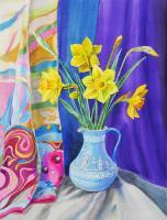 Available_Flowers - Daffodils In The Wedgwood Vase - Watercolor