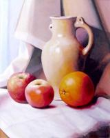 My Paintigs - Jug Rannenbrau Two Apples And An Orange On A Window Sill - Oil On Cardboard 400X500 Mm