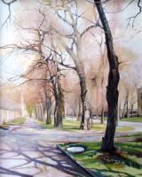 My Paintigs - Spring On My Street - Oil On Cardboard 400X500 Mm
