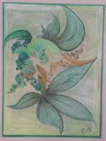Leaf - Herb Garden - Acrylic And Pastals