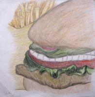 School Projects - Burger And Fries - Pencilcolor Pencil