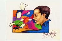 Spirit Of Langston Hughes - Watercolor And Markers Mixed Media - By George Stanley Jr, Abstract Mixed Media Artist
