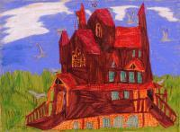 My Artworks - Haunted House - Pastel Marker Felt Pen On Pape