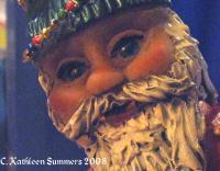 Atilt Kringle Face Detail - Polymer Clay Mostly Sculptures - By C Kathleen Summers, Commercial Sculpture Artist