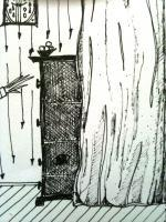 Song Cycle Of The Night Clock - The Cupboard Behind The Curtain - Black Ink Pen On Paper
