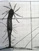 Song Cycle Of The Night Clock - Stick Man Growing - Black Ink Pen On Paper