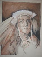 Indian Chief - Pastel Pencils On Textured Pap Drawings - By John Heslep, Rustic Realism Drawing Artist