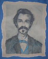 Doc Holliday - Pastel Pencils On Textured Pap Drawings - By John Heslep, Rustic Realism Drawing Artist