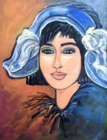Faces - Dutch  Woman  Blue Hatsold - Acrylic