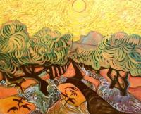 Landscape Expressionism - Olives  And  Crows    Sold - Acrylic