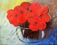 Flowers - Poppies  In  The  Morning - Acrylic