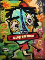 Neo  Expressionism - Biff Loses His Cell Phone - Acrylic