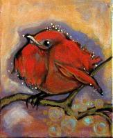 Expressioism - Little  Red  Bird - Acrylic