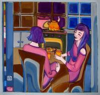 Thermal Painting - Thermal Painting Girl-Friends - Glass Oil