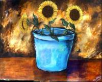 Mikes Art - Sunnies In A Blue Pot - Acrylic On Canvas