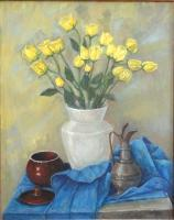 Images - Yellow Roses In White Vase - Oil On Canvas