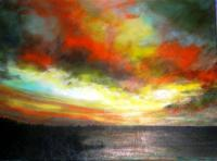 2011 Artworks - Last Summer Sunset By The Lake - Acrylic On Gallery Canvas
