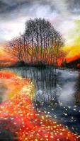 Splendor Of Fall - Acrylic On Gallery Canvas Paintings - By Marie-Line Vasseur, Realism Painting Artist