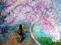 Recent Works - Under The Cherry Blossom - Acrylic On Gallery Canvas