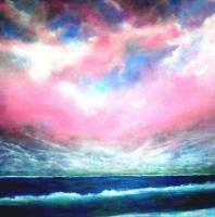 North Atlantic Ocean Skyscape - Acrylic On Gallery Canvas Paintings - By Marie-Line Vasseur, Realism Painting Artist