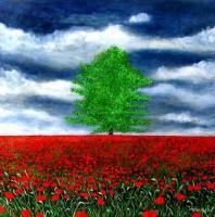 2010 Artworks - Alone Amongst Zillions Of Poppies - Acrylic On Gallery Canvas